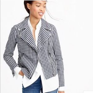 J. Crew Motorcycle Gingham Blue and White …